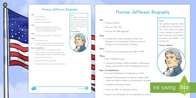 Thomas Jefferson Fast Facts Fact File - American Presidents, American History, Social Studies, Barack Obama, Lyndon B. Johnson, Franklin D.