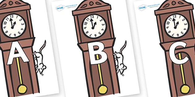 A-Z Alphabet on Clocks - A-Z, A4, display, Alphabet frieze, Display letters, Letter posters, A-Z letters, Alphabet flashcards