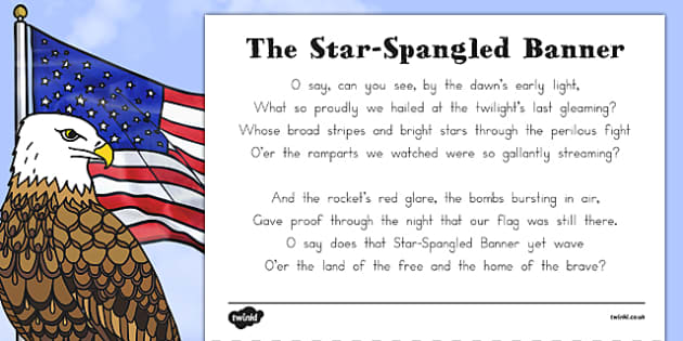 USA National Anthem 'The Star-Spangled Banner' Sheet - us, united states, america, american, song, sing, anthem, celebrate, celebration, patriotic, patriotism, lyrics, words