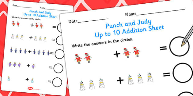 Punch and Judy Up to 10 Addition Sheet - addition, maths, numbers