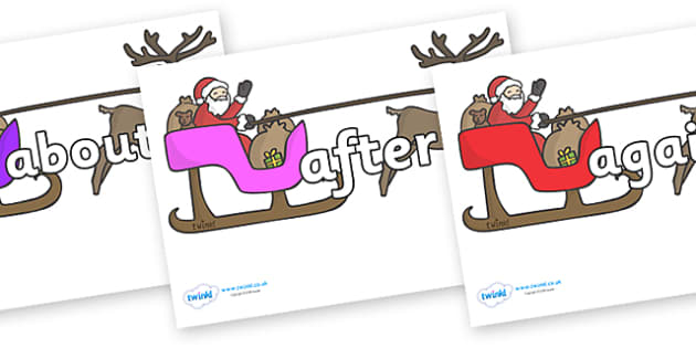 KS1 Keywords on Sleighs - KS1, CLL, Communication language and literacy, Display, Key words, high frequency words, foundation stage literacy, DfES Letters and Sounds, Letters and Sounds, spelling