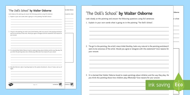 The Doll's School Art Appreciation Activity Sheet - Irish Art Resources, art strands, display resources, art appreciation, activity sheet, artist, perso