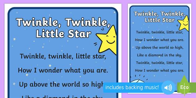 Twinkle Twinkle Little Star Nursery Rhyme Poster - rhyme, display
