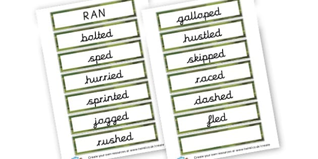 Alternative Words for Ran - Grammar Activity Primary Resources, grammar aids, activities