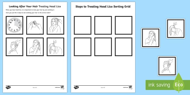 Looking After Your Hair Treating Head Lice Sequencing Activity Sheet - Special Educational Needs, Head Lice, Health and Hygiene, Life Skills, PSHCE, worksheet, Key Stage3,