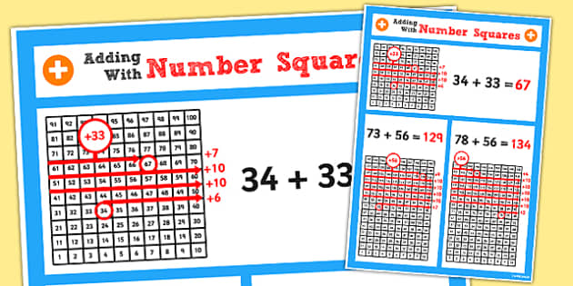 Year 2 Adding 2 2 Digit Numbers Using Number Squares Poster