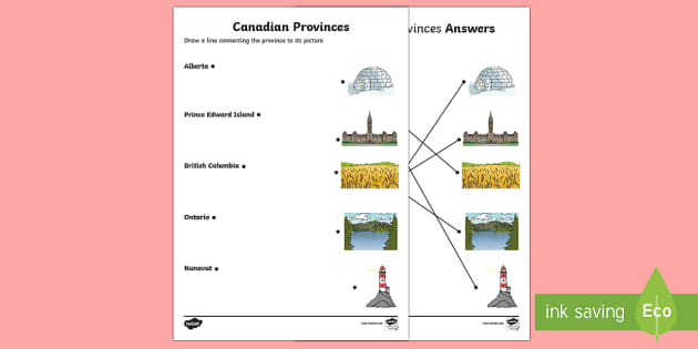 Canadian Provinces Word and Picture Matching Activity Sheet - Uniquely Canadian, Geography, Social Studies, Canada, Canadian Provinces.