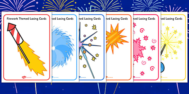 Firework Themed Lacing Cards - firework, lacing, cards, themed