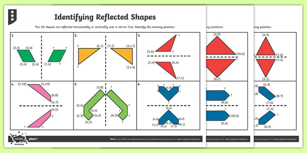 Reflecting 2D Shapes Differentiated Activity Sheets - Position and Direction, reflection, coordinates, reflective symmetry, mirror line, congruent, congruence