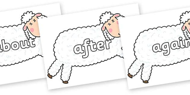 KS1 Keywords on Hullabaloo Sheep to Support Teaching on Farmyard Hullabaloo - KS1, CLL, Communication language and literacy, Display, Key words, high frequency words, foundation stage literacy, DfES Letters and Sounds, Letters and Sounds, spelling
