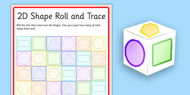 2D Shape Roll and Trace Game - 2d shape, roll and trace, roll, trace, game, activity
