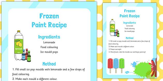Frozen Edible Paint Recipe - frozen, edible, paint, recipe, eyfs