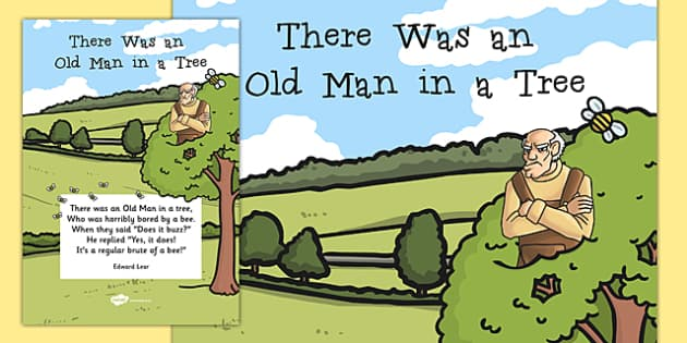 There Was an Old Man in a Tree Edward Lear Poem Poster -Edward Lear, literature, English