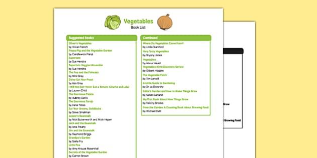 Vegetable Themed Book List