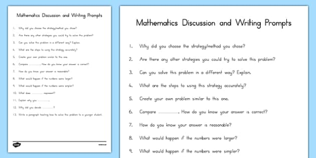 Math Discussion or Writing Prompts - usa, america, Math, Writing, Prompts, Discussion, Speaking, Listening, Lesson plan, questioning