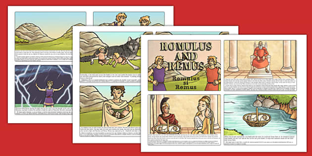 Romulus and Remus Story Cards Romanian Translation -  romans, history, traditional tale, primary, Rome, language, translated, information, activity, visual, aid, display