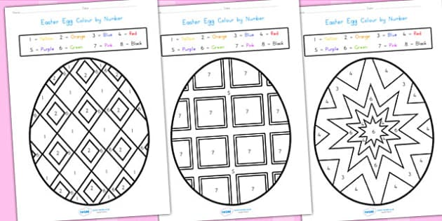 Easter Egg Colour By Number Sheets - easter, easter egg, colour