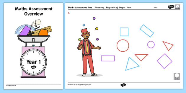 Year 1 Maths Assessment: Geometry - Properties of Shapes Term 1 - shapes, year 1, maths, assessment, geometry, properties, term 1