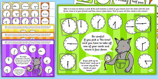 O'Clock, Half Past, Quarter Past and Quarter to Time Bingo and Lotto Game - o'clock, half past, quarter past, quarter to, time, bingo, lotto, game, activity