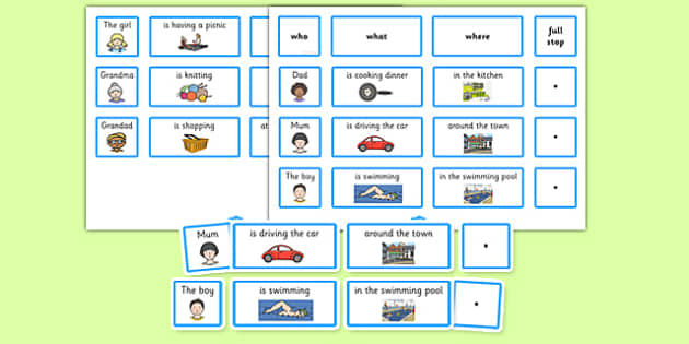 Everyday Sentence Building Cards EAL - sentence, building, cards