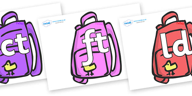 Final Letter Blends on Backpacks - Final Letters, final letter, letter blend, letter blends, consonant, consonants, digraph, trigraph, literacy, alphabet, letters, foundation stage literacy