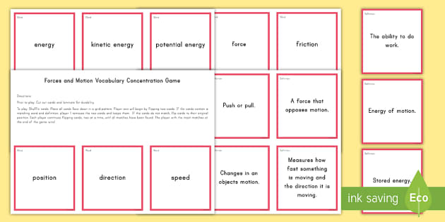 Forces and Motion Concentration Matching Game - Science Concentration Games, Body Systems, Earth and Sun, Ecology, Weather and Climate, Heat Energy,