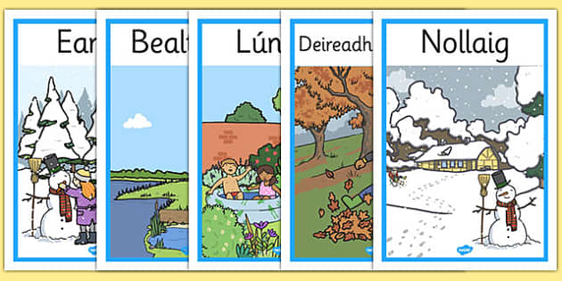Months of the Year Seasons Posters Gaeilge - gaeilge, months of the year, months, year, seasons, poster, display