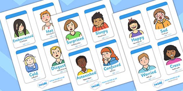 بطاقات تعليمية عن أنفسنا إنجليزي عربي