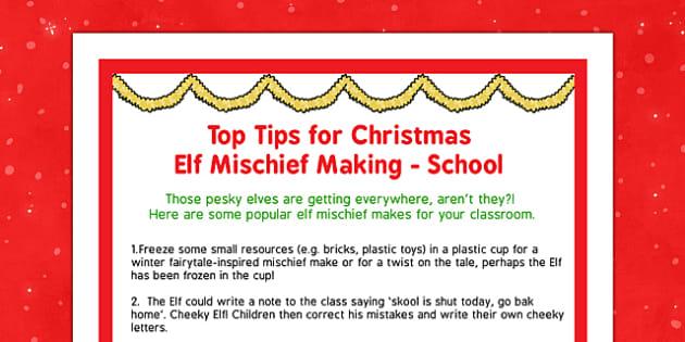 Top Tips for Christmas Elf Mischief Making School - top tips, christmas elf, mischief making, school