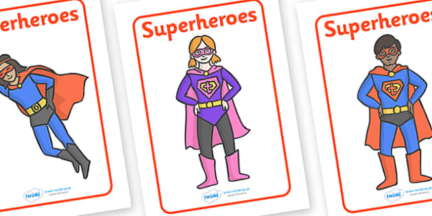 Superhero Display Posters - Superhero, superheroes, hero, poster, banner, sign, display, A4 display, batman, superman, spiderman, special, power, powers, catwoman, liono, he-man