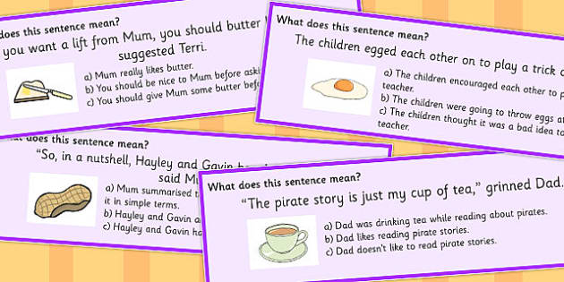 Food Idioms Sentence Cards Multiple Choice Set 2 - food, idiom, choice