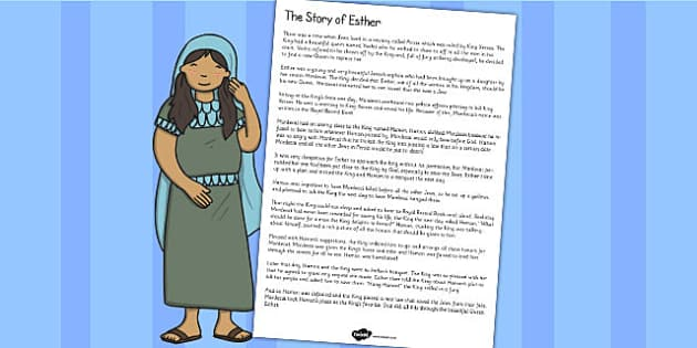 The Story of Esther Bible Story Print Out - story of Esther