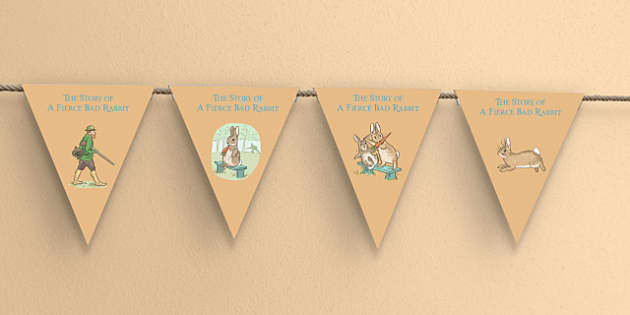 Beatrix Potter - The Story of a Fierce Bad Rabbit Bunting - beatrix potter, fierce, bad, rabbit