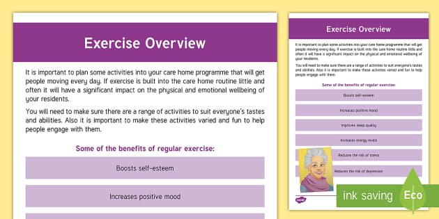 Exercise Overview Guide - Exercise, Wellbeing, Health, Ideas, Elderly Care, Care Homes, Activity Co-ordinators, Support