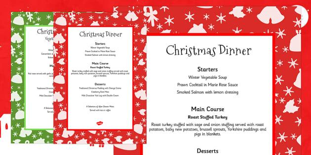 Christmas Dinner Menus - festivities, celebrations, menu, food
