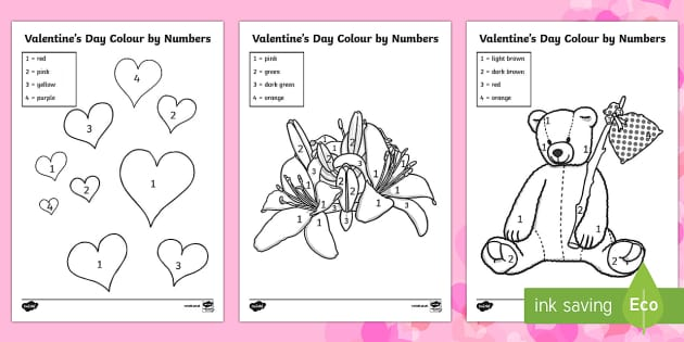 Valentine's Day Colour by Number - Valentine's Day,  Feb 14th, love, cupid, hearts, valentine, colouring