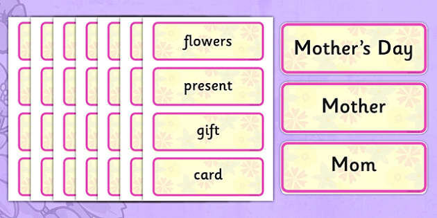 Mother's Day Word Cards - usa, america, Mother's day, cards, word card, flashcards, Mother's day activity, Mother's day resource