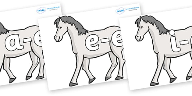 Modifying E Letters on Horses - Modifying E, letters, modify, Phase 5, Phase five, alternative spellings for phonemes, DfES letters and Sounds