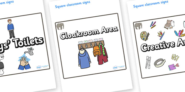 Elephant Themed Editable Square Classroom Area Signs (Plain) - Themed Classroom Area Signs, KS1, Banner, Foundation Stage Area Signs, Classroom labels, Area labels, Area Signs, Classroom Areas, Poster, Display, Areas