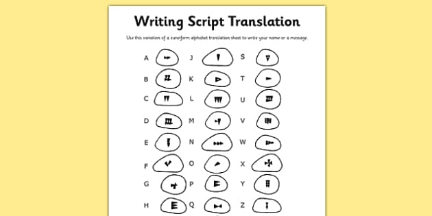 Ancient Sumer Writing Script Translation Sheet - sumer, script
