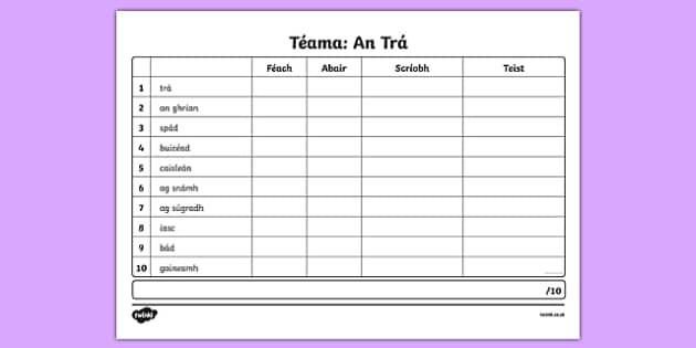 Spelling List An Trá Activity Sheet - Irish, worksheet