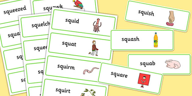 SQU Word Cards - speech sounds, phonology, articulation, speech therapy, cluster reduction, three element clusters, complex clusters