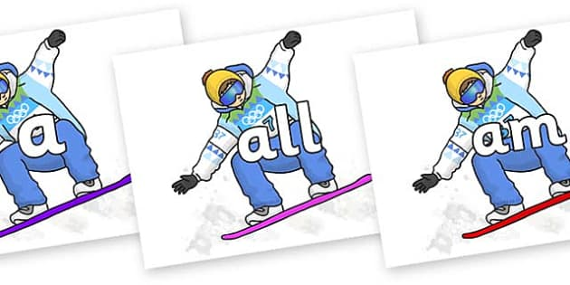 Foundation Stage 2 Keywords on Snowboarding - FS2, CLL, keywords, Communication language and literacy,  Display, Key words, high frequency words, foundation stage literacy, DfES Letters and Sounds, Letters and Sounds, spelling