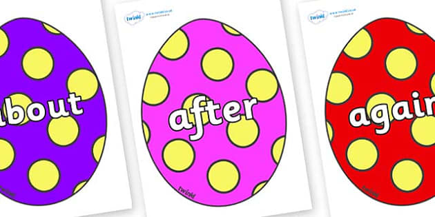 KS1 Keywords on Easter Eggs (Spots) - KS1, CLL, Communication language and literacy, Display, Key words, high frequency words, foundation stage literacy, DfES Letters and Sounds, Letters and Sounds, spelling