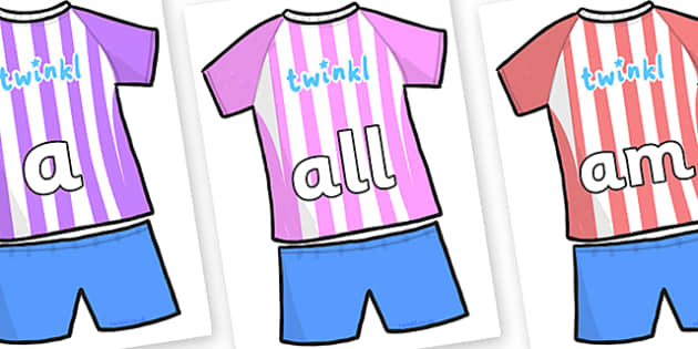 Foundation Stage 2 Keywords on Football Strip - FS2, CLL, keywords, Communication language and literacy,  Display, Key words, high frequency words, foundation stage literacy, DfES Letters and Sounds, Letters and Sounds, spelling