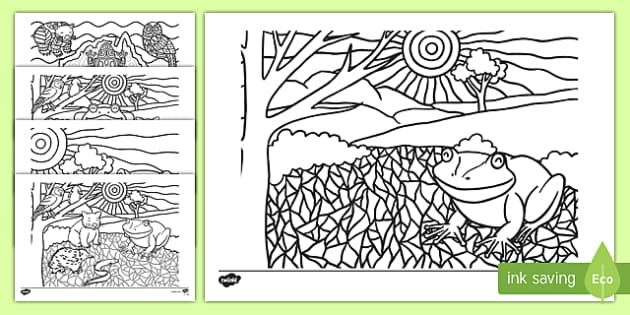 Tiddalick the Frog Colouring Pages-Australia