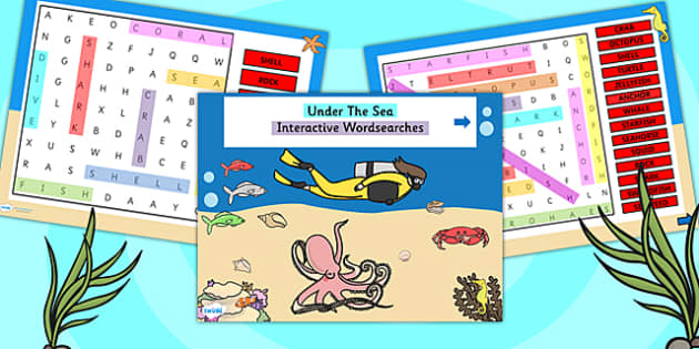 Under the Sea Differentiated Interactive Wordsearch - word search