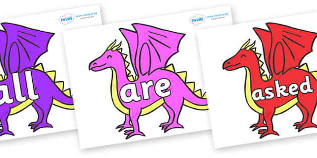 Tricky Words on Dragons - Tricky words, DfES Letters and Sounds, Letters and sounds, display, words