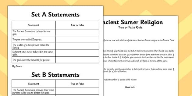 Ancient Sumer Religion True or False Game - sumer, true, false