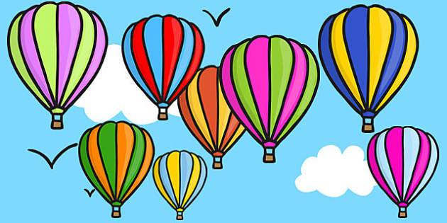 Hot Air Balloon Mulitcoloured Cut Outs - cut out, hot air balloon
